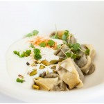 tortelli filled with burnt eggplant -spicy pistachio - pyengana cheddar - mint